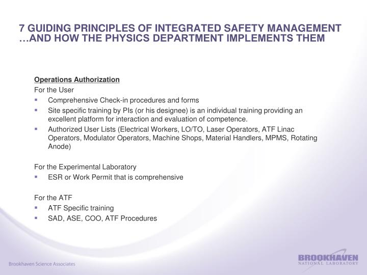 7 GUIDING PRINCIPLES OF INTEGRATED SAFETY MANAGEMENT