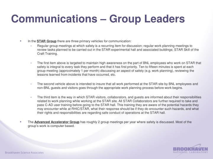 Communications – Group Leaders