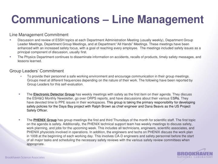 Communications – Line Management