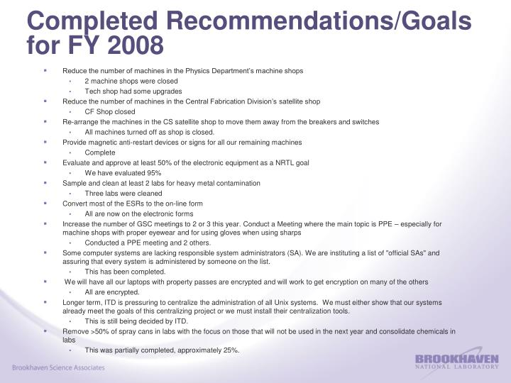 Completed Recommendations/Goals for FY 2008