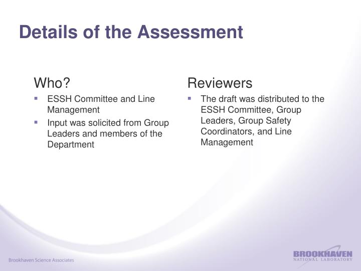Details of the Assessment