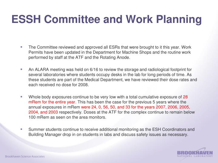ESSH Committee and Work Planning