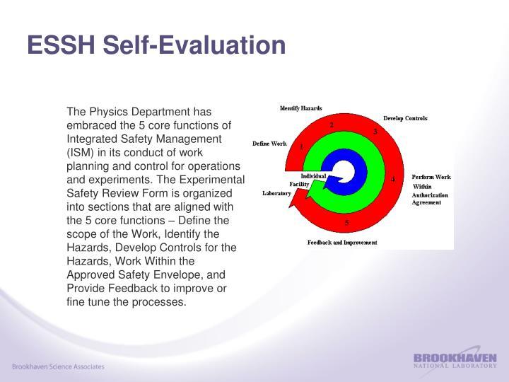 ESSH Self-Evaluation