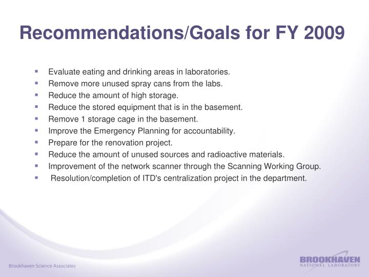 Recommendations/Goals for FY 2009