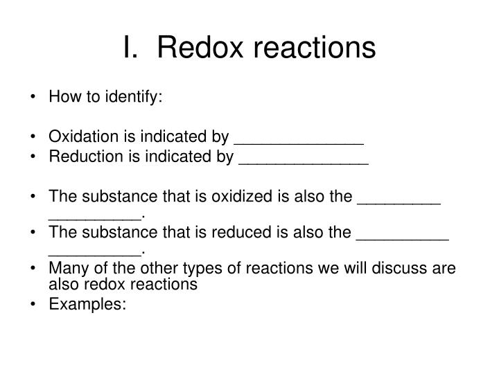I.  Redox reactions