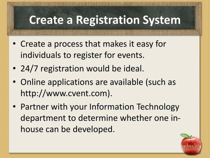 Create a Registration System