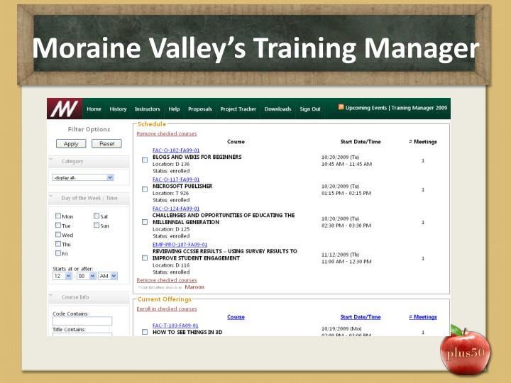 Moraine Valley's Training Manager