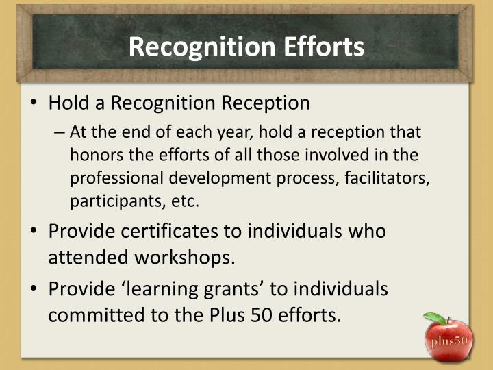 Recognition Efforts
