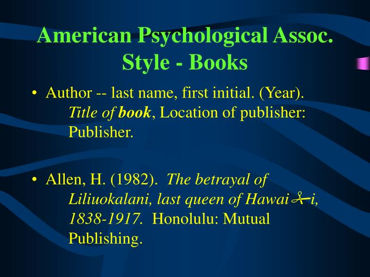 American Psychological Assoc. Style - Books