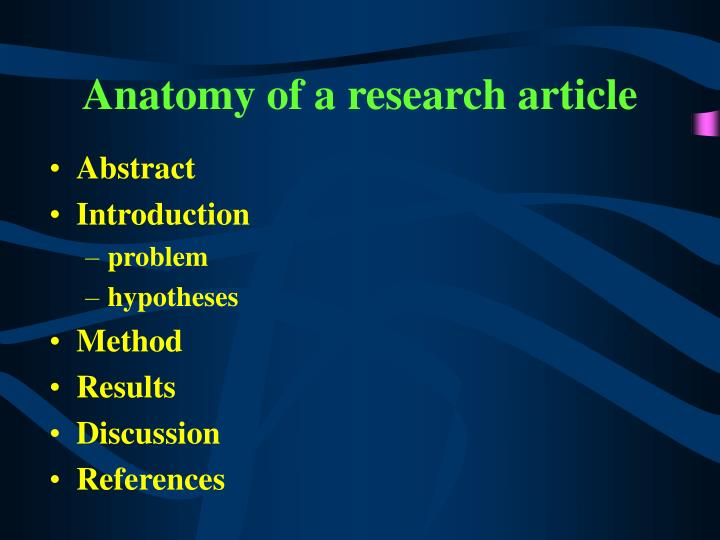 Anatomy of a research article