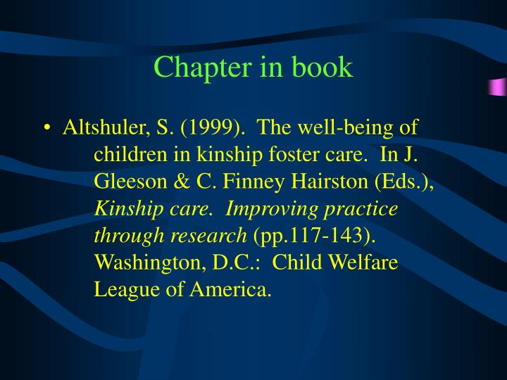 Chapter in book