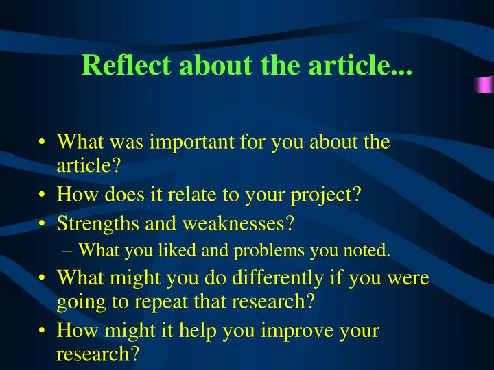 Reflect about the article...