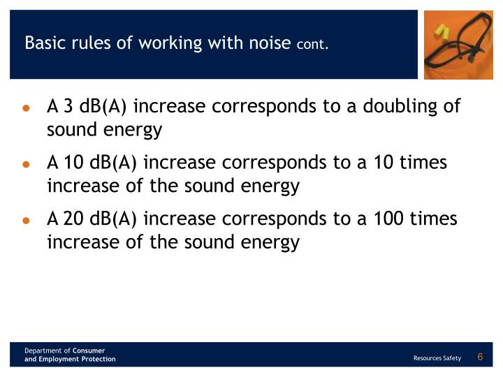 Basic rules of working with noise