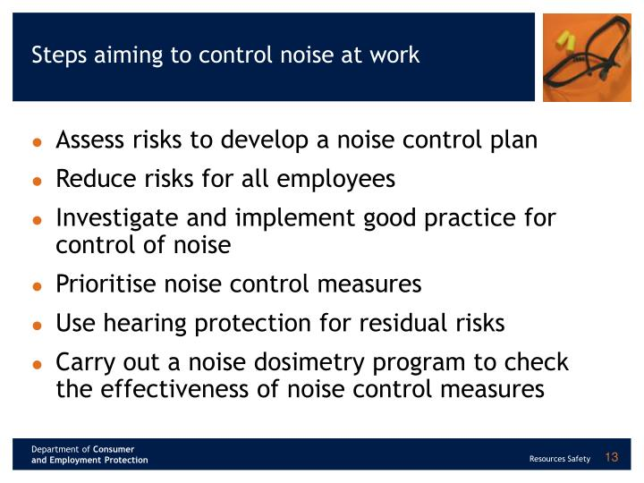 Steps aiming to control noise at work