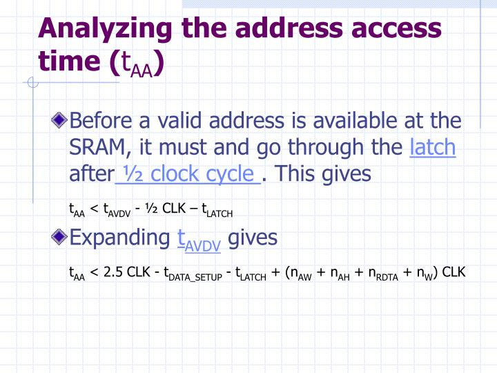 Analyzing the address access time (