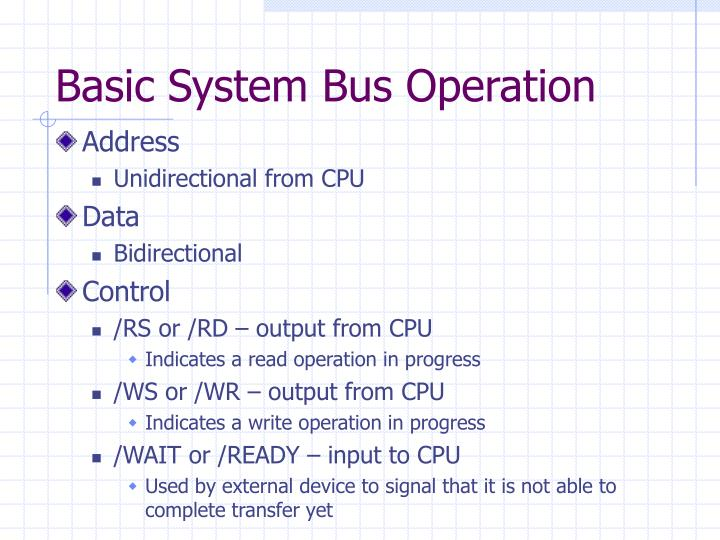 Basic System Bus Operation
