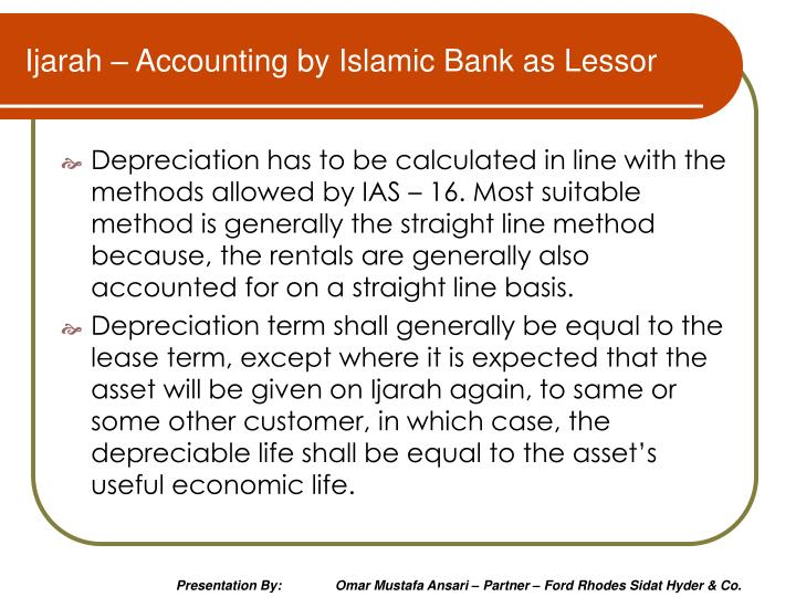 Ijarah – Accounting by Islamic Bank as Lessor