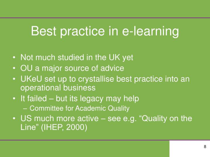 Best practice in e-learning