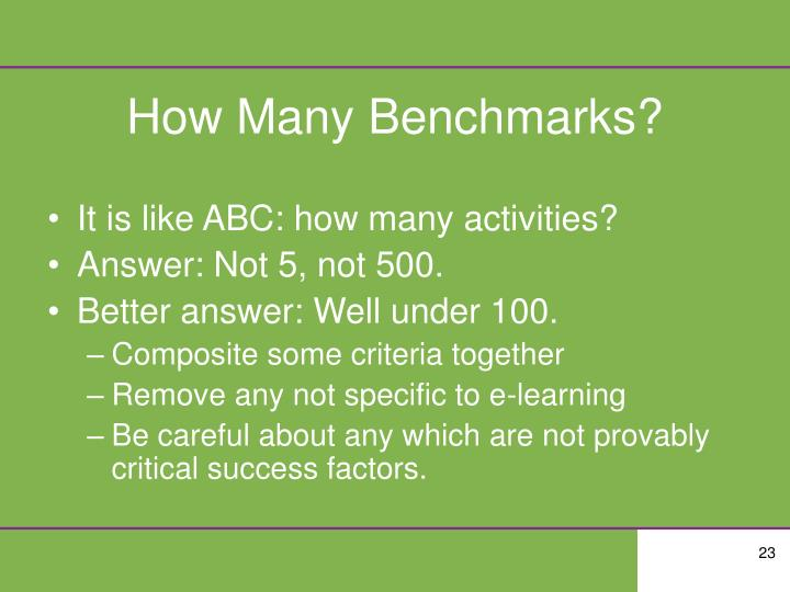 How Many Benchmarks?