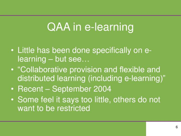 QAA in e-learning