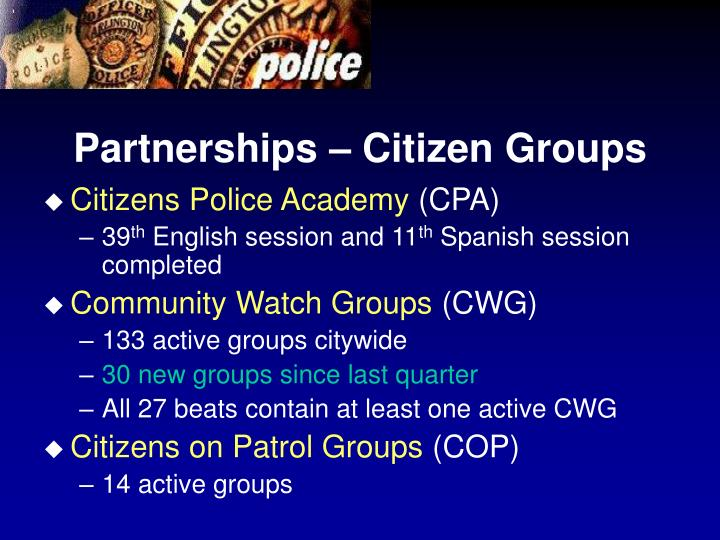 Partnerships – Citizen Groups