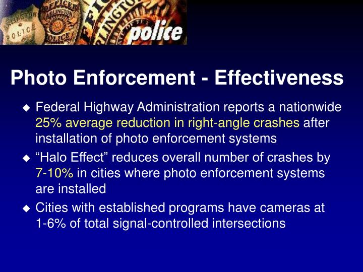 Photo Enforcement - Effectiveness