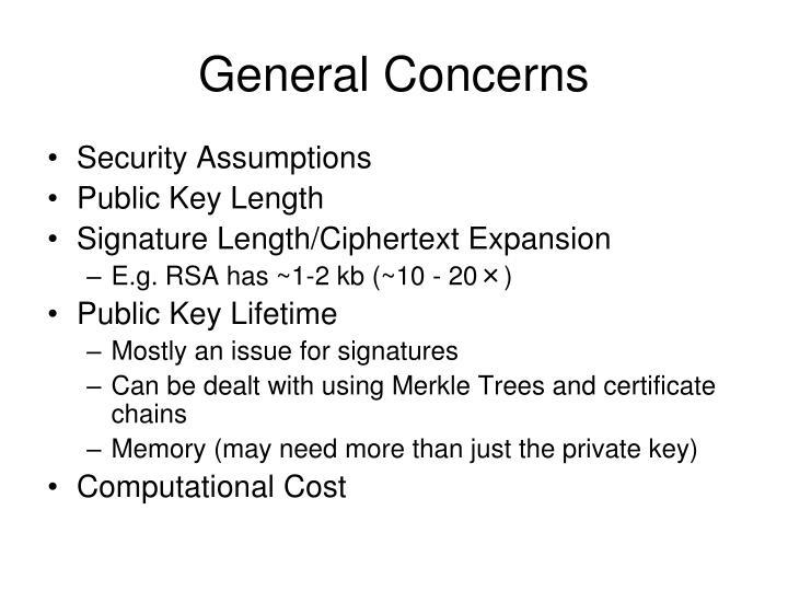 General Concerns
