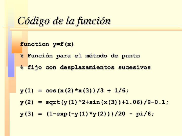Código de la función