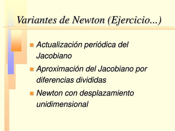 Variantes de Newton (Ejercicio...)