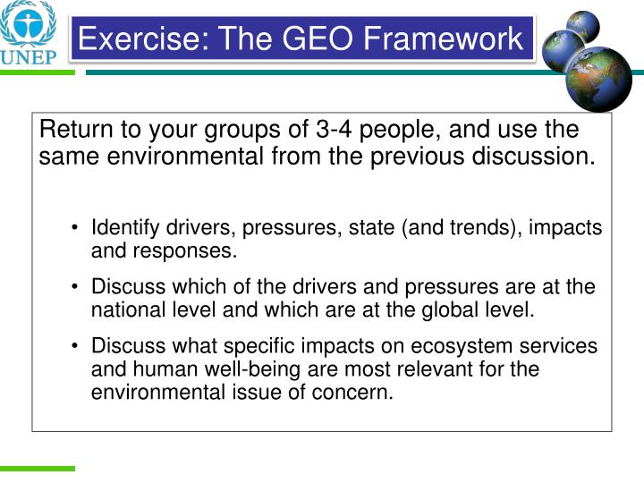 Return to your groups of 3-4 people, and use the same environmental from the previous discussion.