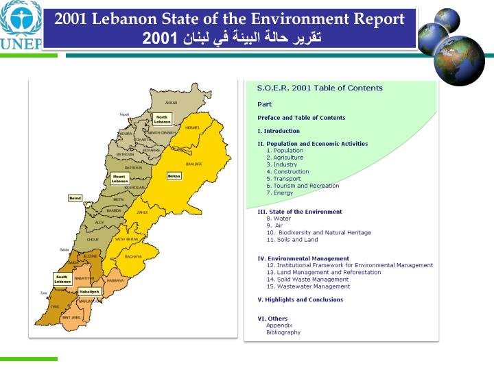 2001 Lebanon State of the Environment Report