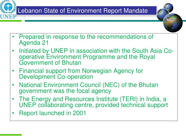 Prepared in response to the recommendations of Agenda 21