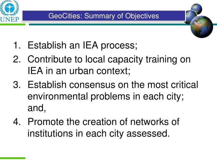 Establish an IEA process;