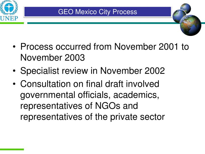Process occurred from November 2001 to November 2003