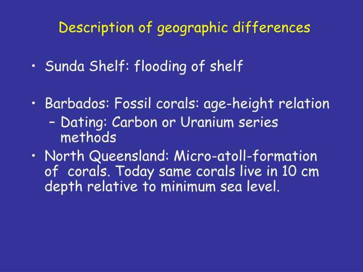Description of geographic differences