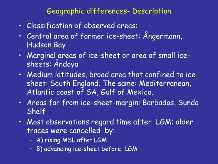 Geographic differences- Description