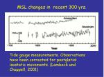 msl changes in recent 300 yrs
