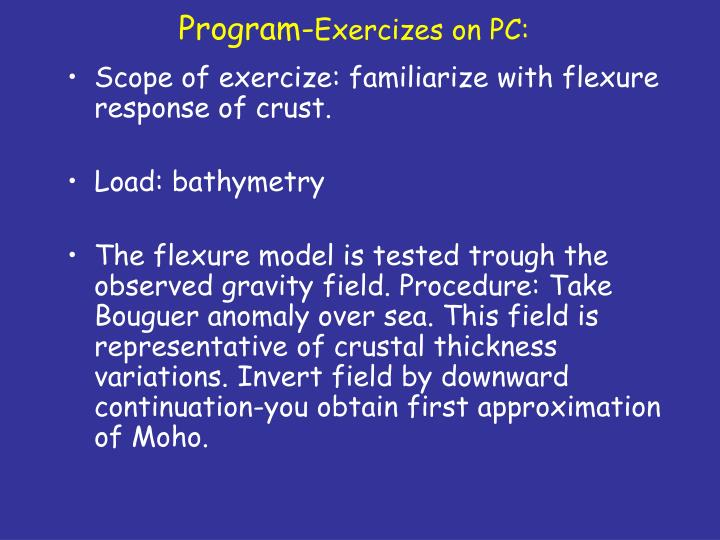 Program exercizes on pc