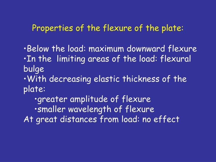 Properties of the flexure of the plate: