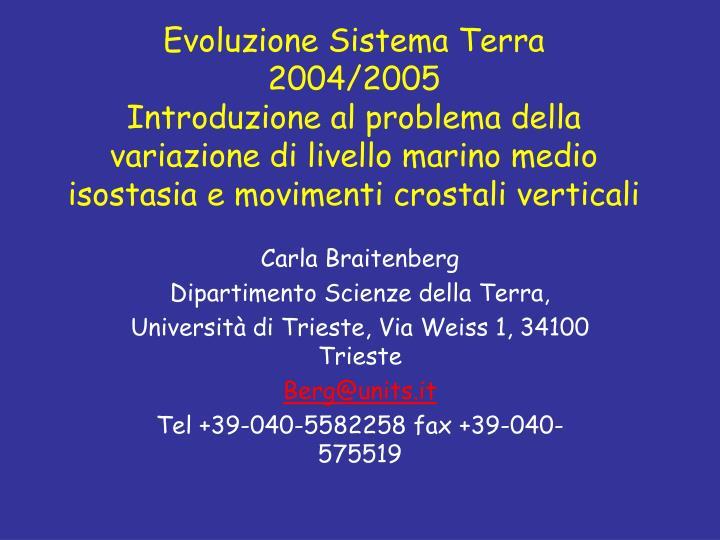 Evoluzione Sistema Terra