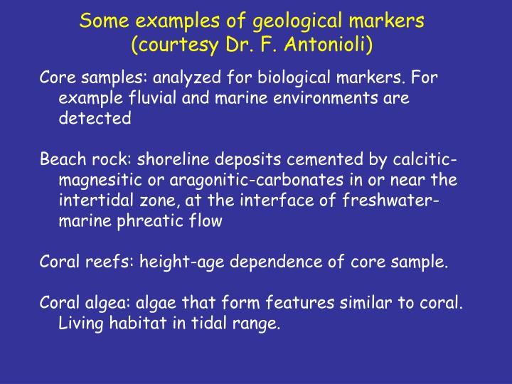 Some examples of geological markers