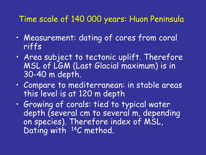 Time scale of 140 000 years: Huon Peninsula