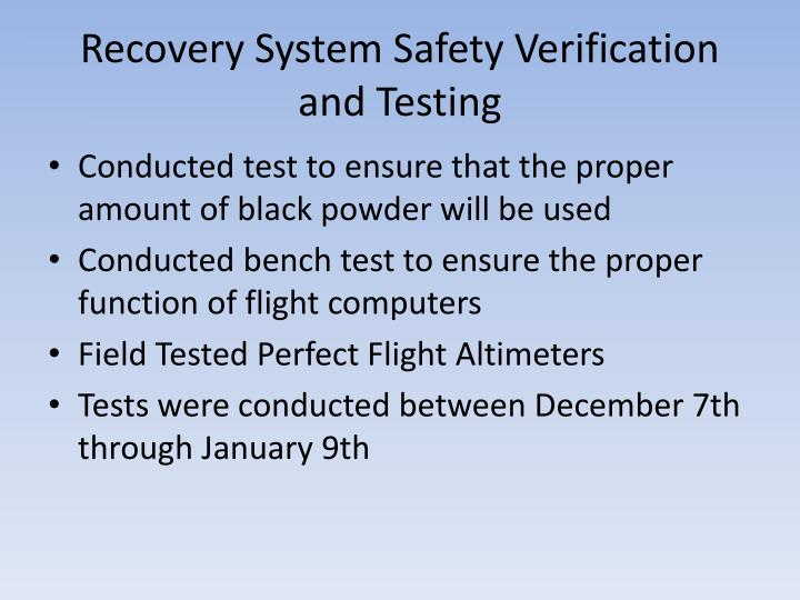 Recovery System Safety Verification and Testing