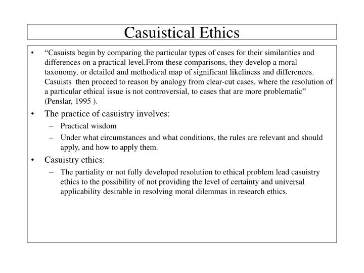 Casuistical Ethics