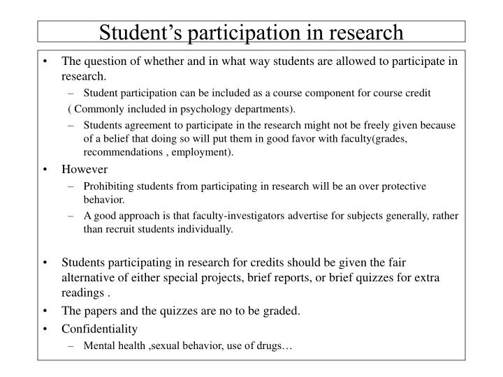 Student's participation in research
