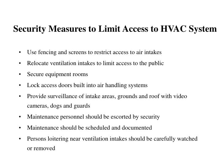 Security Measures to Limit Access to HVAC System
