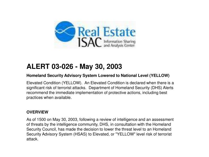 ALERT 03-026 - May 30, 2003