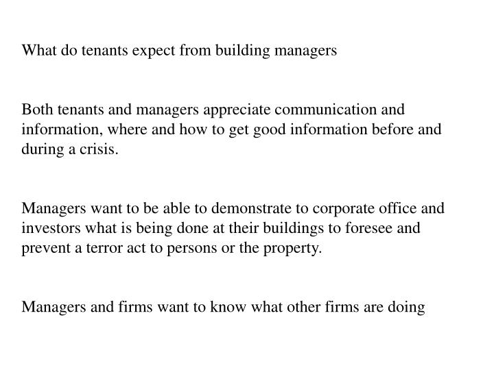 What do tenants expect from building managers
