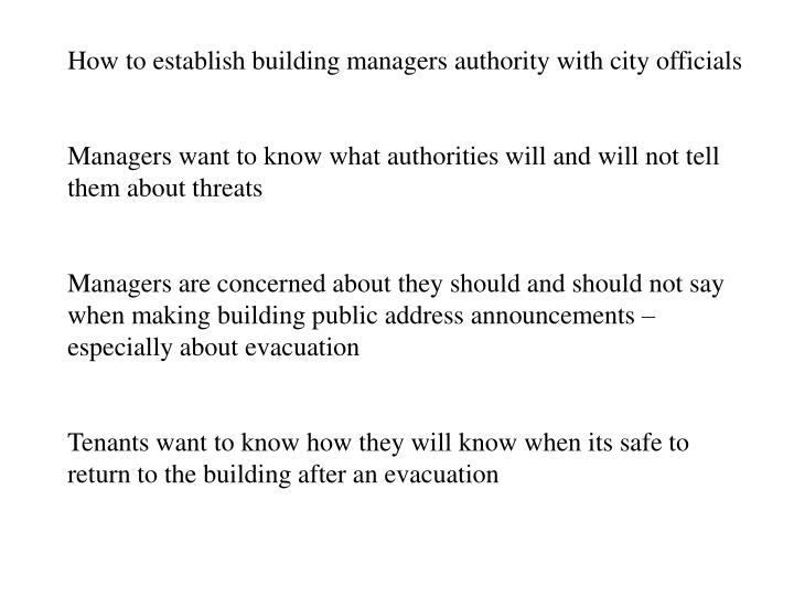 How to establish building managers authority with city officials