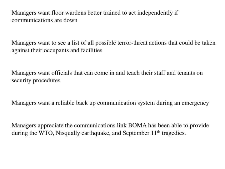 Managers want floor wardens better trained to act independently if communications are down